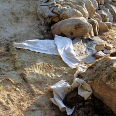 Alushiekka suojattu maanerotuskankaalla veden vaikutuksilta.